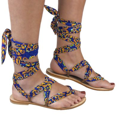 Slave sandals with interchangeable lace in hand-painted pattern art47 Hamalfitè Sandals  clothing and accessories capri posit...