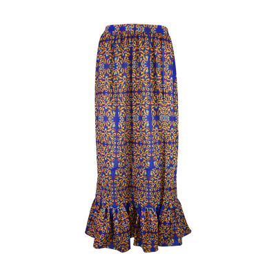 Long skirt in crêpe Panarea with Vietri majolicas print art46bot Hamalfitè Beach clothes  clothing and accessories capri posi...