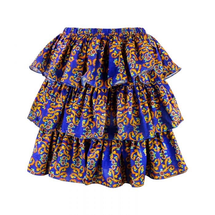 Flounced skirt mod. Panarea in crepe with Vietri majolica print art44 Hamalfitè Beach clothes  clothing and accessories capri...
