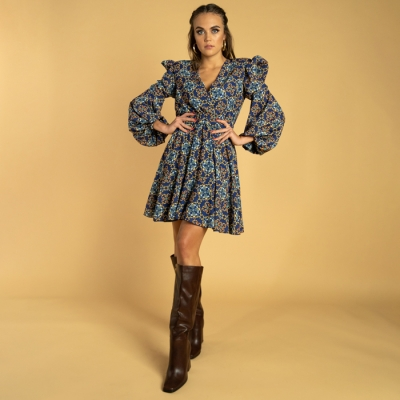 Short dress with deep neckline and flounces, blue majolica print art64_hmlf52 Hamalfitè Women's Dresses  clothing and accesso...