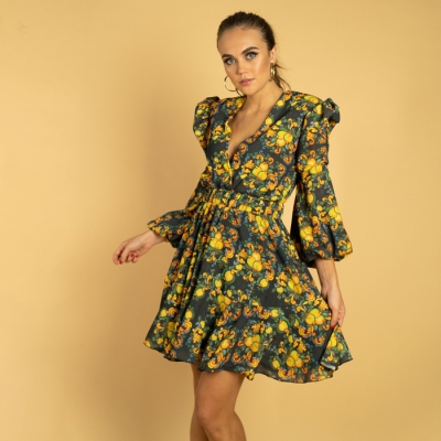 Short dress with deep neckline, flounces and lemon and baroque print art64_hmlf59 Hamalfitè Women's Dresses  clothing and acc...