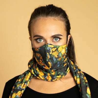 Scarf and tailored mask, two in one, with print, double layer, washable and reusable. art67 Hamalfitè Sciarpe & Foulard  clot...