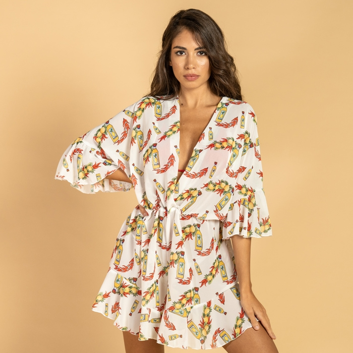 Short jumpsuit in summer cover-up, print in 6 different patterns art61 Hamalfitè Beach clothes  clothing and accessories capr...