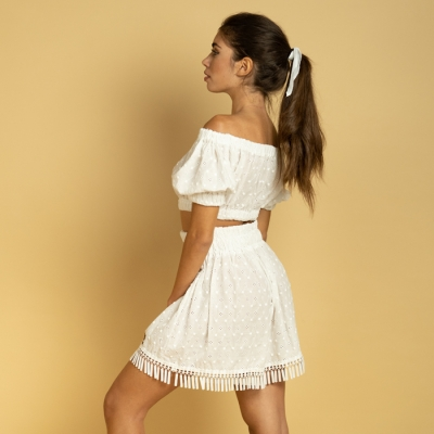 Complete broderie anglaise, boat neck top and fringed shorts - Blanche art79 Hamalfitè Beach clothes  clothing and accessorie...