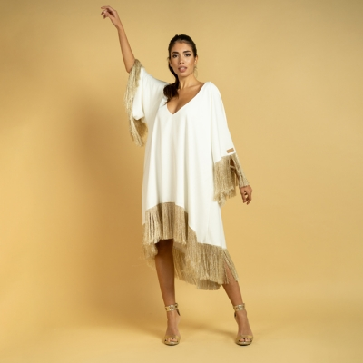 Satin kaftan with deep...