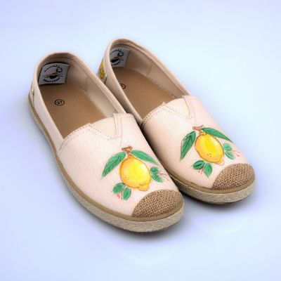 Espadrillas Woman Hand-painted Lemon